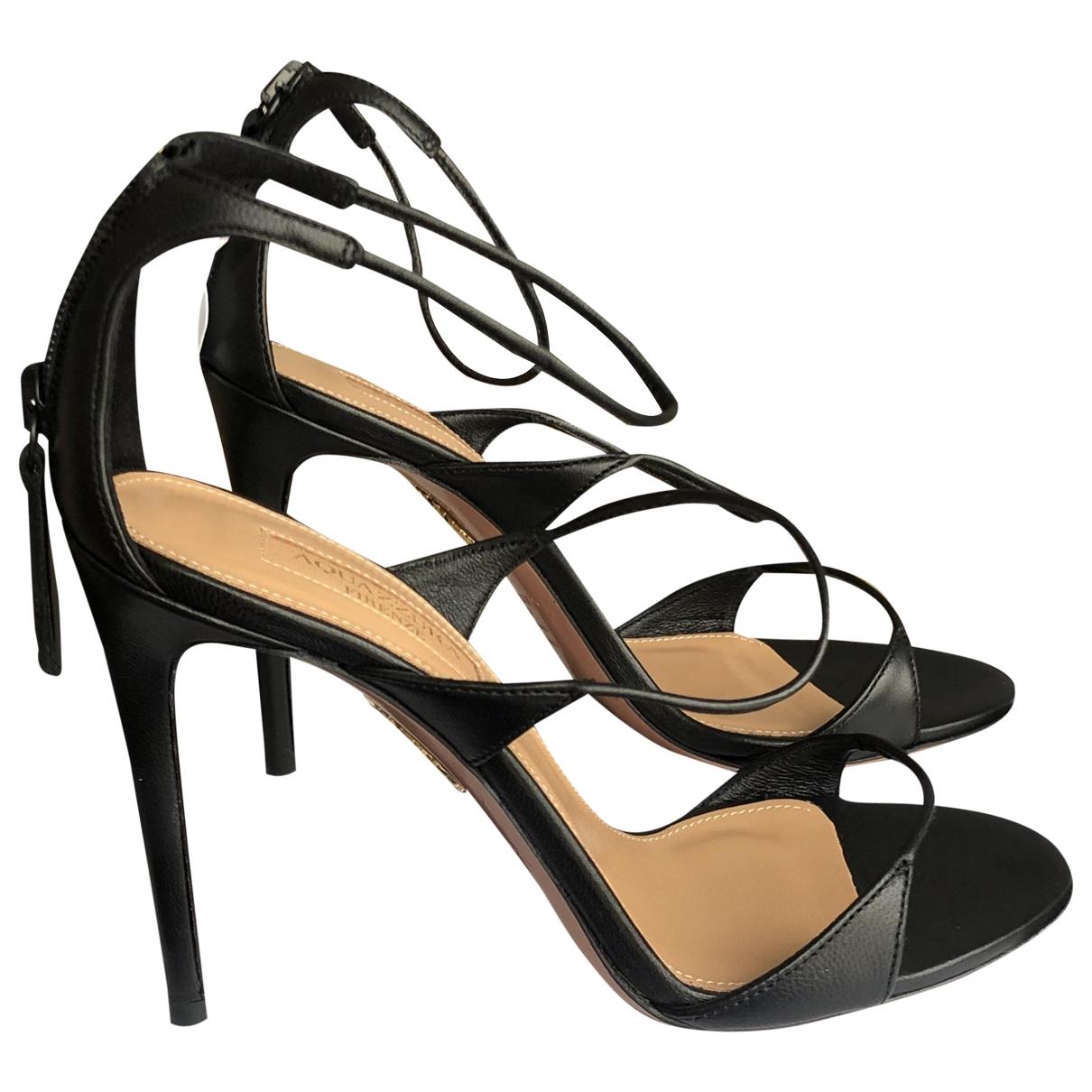 Aquazzura \N Black Leather Sandals for Women 36 EU