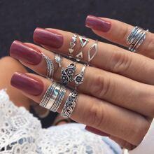 9pcs Floral & Geo Ring