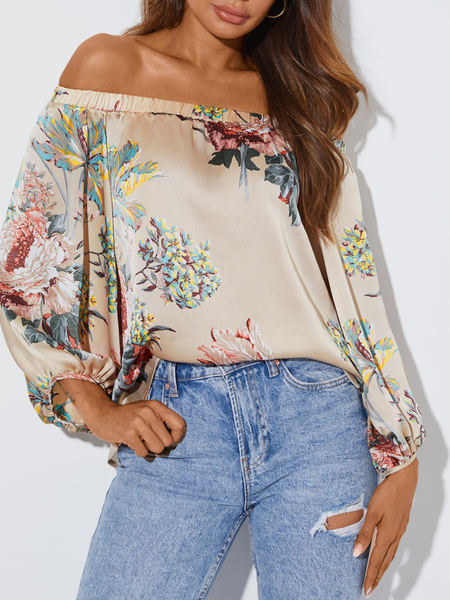 YOINS Random Floral Print Off The Shoulder Long Sleeves Blouse