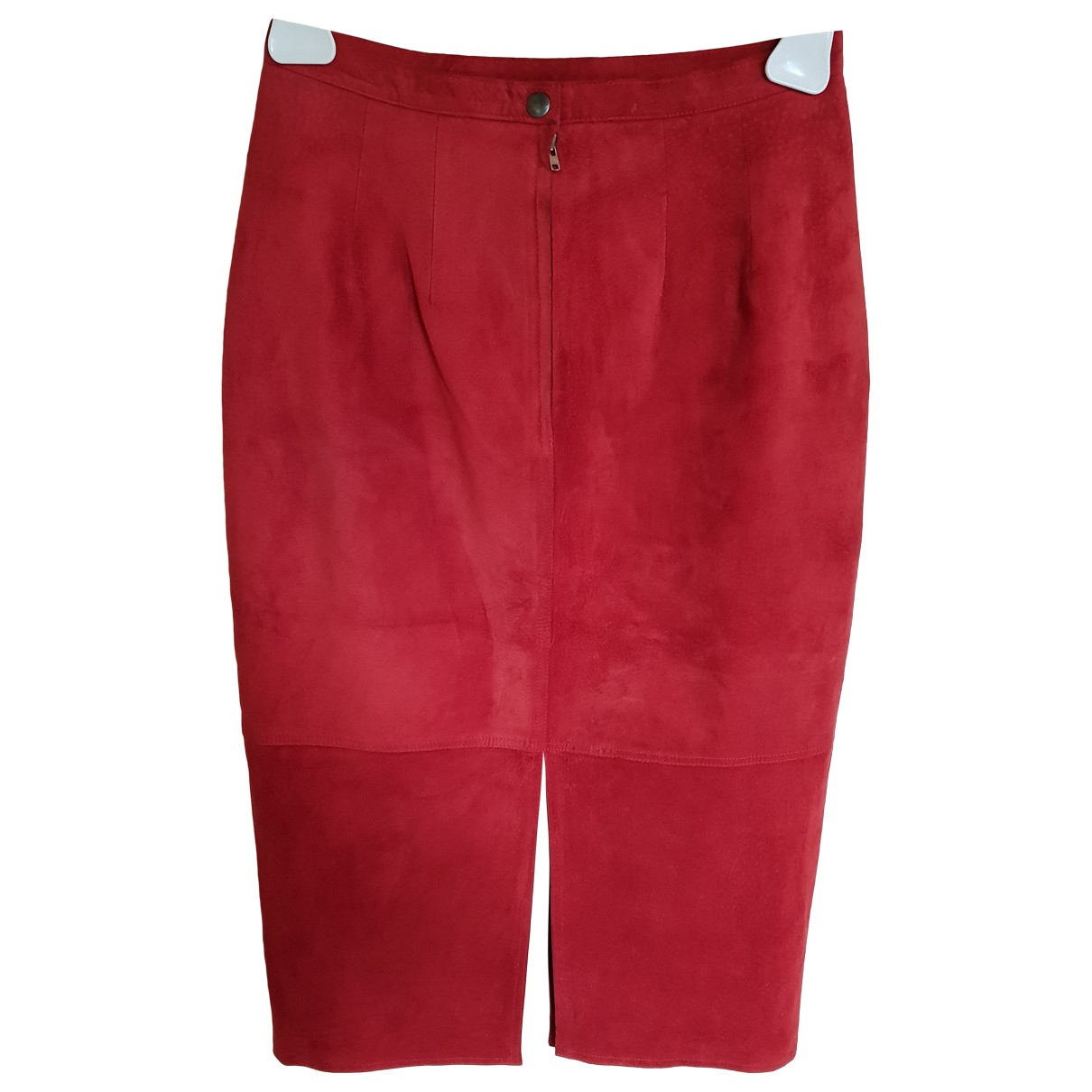 Non Signé / Unsigned Hippie Chic Red Leather skirt for Women S International