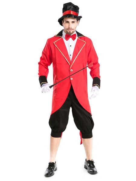Milanoo Carnaval Disfraz de circo Rojo Pantalones de hombre Conjunto de camisa Poliester Disfraces de Halloween para fiestas