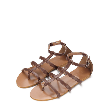 Yoins Brown Leather Look T-bar Detail Pin Buckle Closure Gladiator Flat Sandals