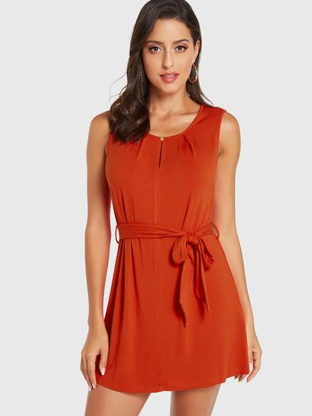 Yoins Orange Round Neck Sleeveless Self-tie Design Dress