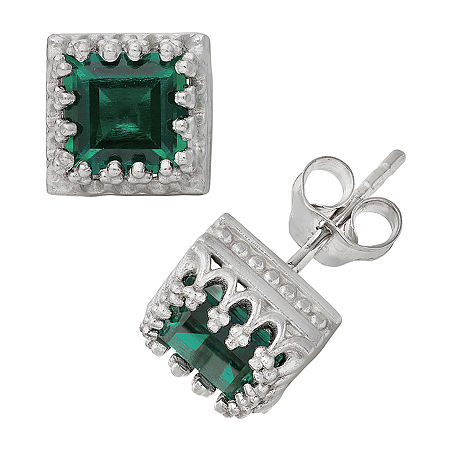 Lab Created Green Emerald Sterling Silver 8mm Stud Earrings, One Size , No Color Family