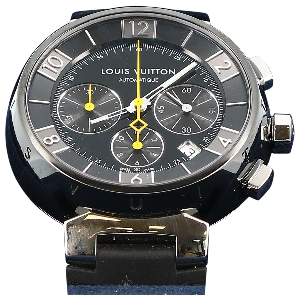 Louis Vuitton - Montre Tambour pour femme en acier - noir