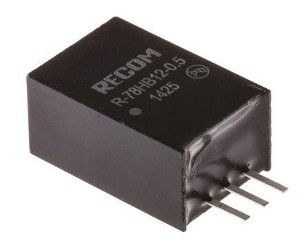 Recom Through Hole Switching Regulator, 12V dc Output Voltage, 17 → 72V dc Input Voltage, 500mA Output Current