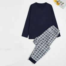 Schlafanzug Set mit Plaid Muster