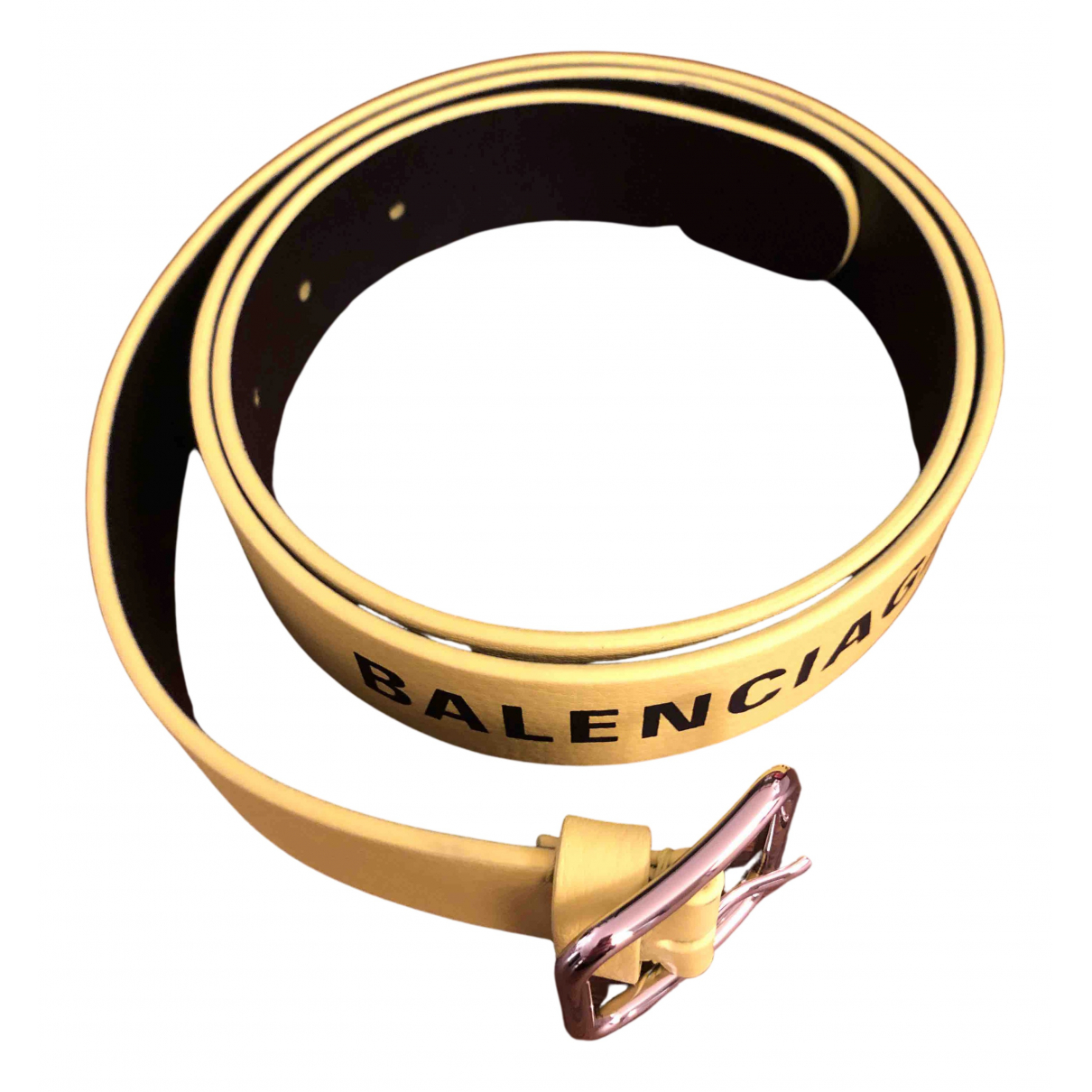 Balenciaga - Ceinture   pour femme en cuir - jaune