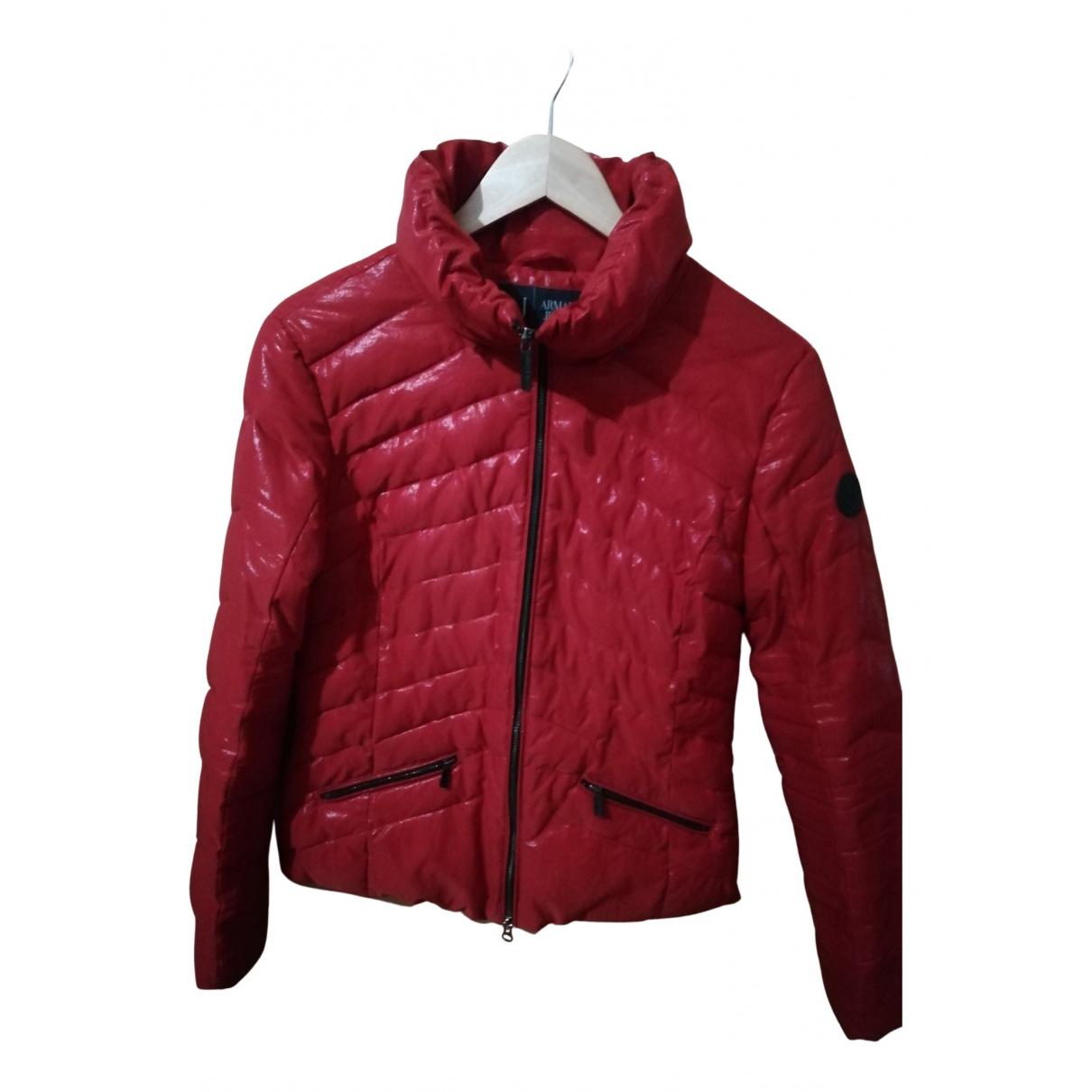 Armani Jeans \N Lederjacke in  Rot Viskose