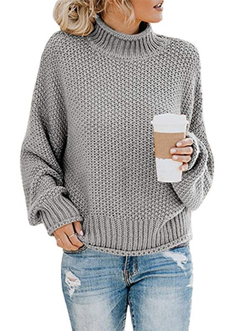 Ericdress Batwing Sleeve Thin Patchwork Long Sleeve Loose Sweater
