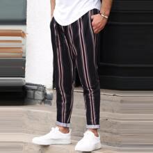 Hose mit Streifen Muster und Kordelzug um die Taille