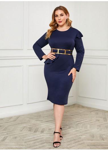 Belted Ruffle Trim Plus Size Dress - XXL