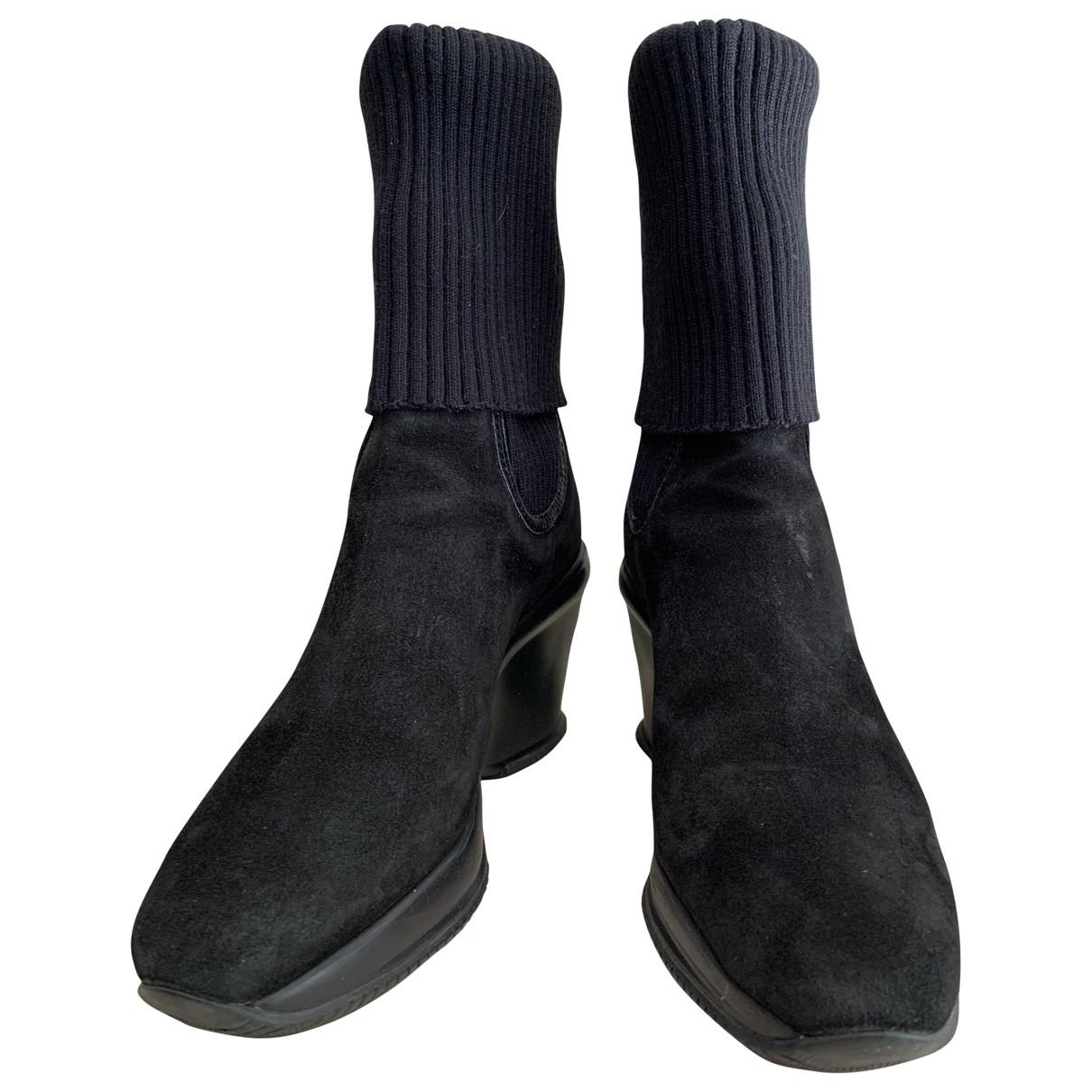 Hogan - Bottes   pour femme en suede - noir