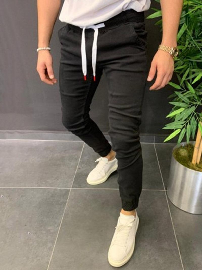 Ericdress Pencil Plain Mid Waist Lace-Up Men's Casual Pants