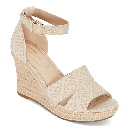 Liz Claiborne Womens Majorca Wedge Sandals, 8 Medium, Beige