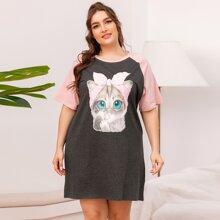 Nachtkleid mit Farbblock und Katze Muster