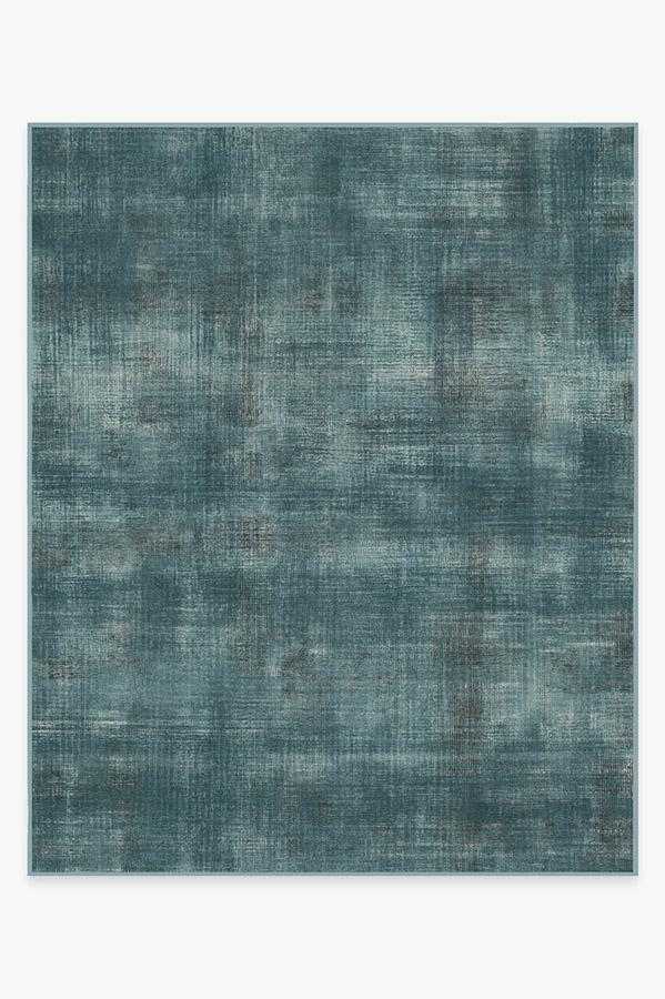 Washable Rug Cover & Pad | Sudaria Solid Teal Blue Rug | Stain-Resistant | Ruggable | 8'x10'