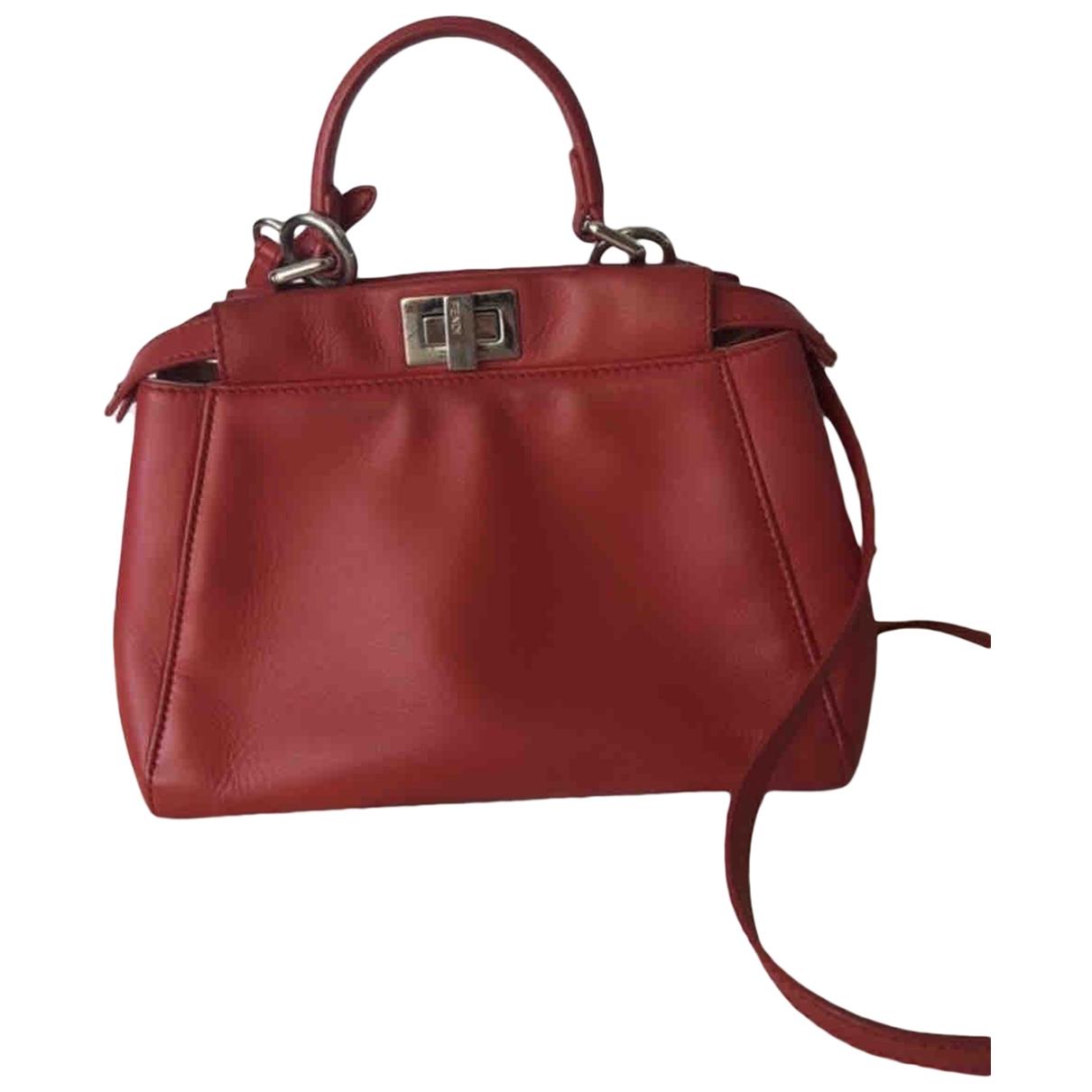 Fendi Peekaboo Burgundy Leather handbag for Women \N