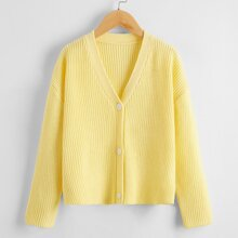 Girls Button Front Ribbed Knit Cardigan