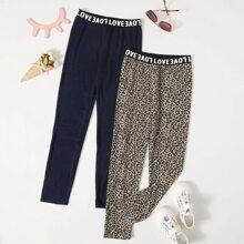 2 Stuecke Leggings mit Buchstaben Muster und Taillenband