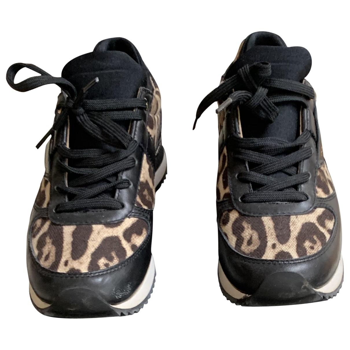 Dolce & Gabbana - Baskets   pour femme en cuir - noir