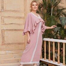 Kleid mit Kontrast Guipure Spitzenbesatz, Raffungsaum und Cape