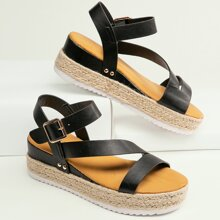 Asymmetric Strappy Open Toe Flatform Sandals