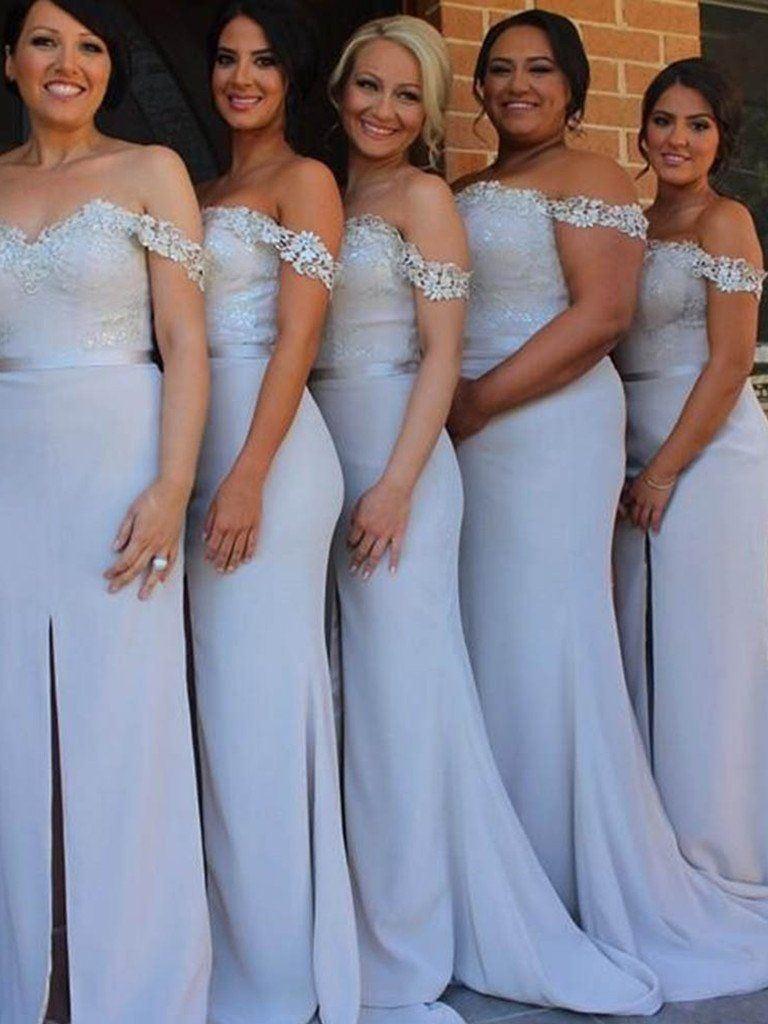 Ericdress Split-Front Off-The-Shoulder Bridesmaid Dress