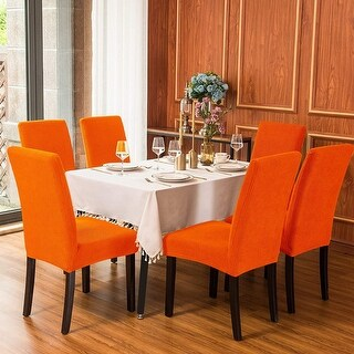 Subrtex Dining Chair Slipcover Set of 2 Furniture Protector (Orange)