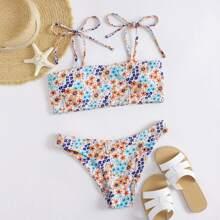 Ditsy Floral Tie Strap Bikini Swimsuit