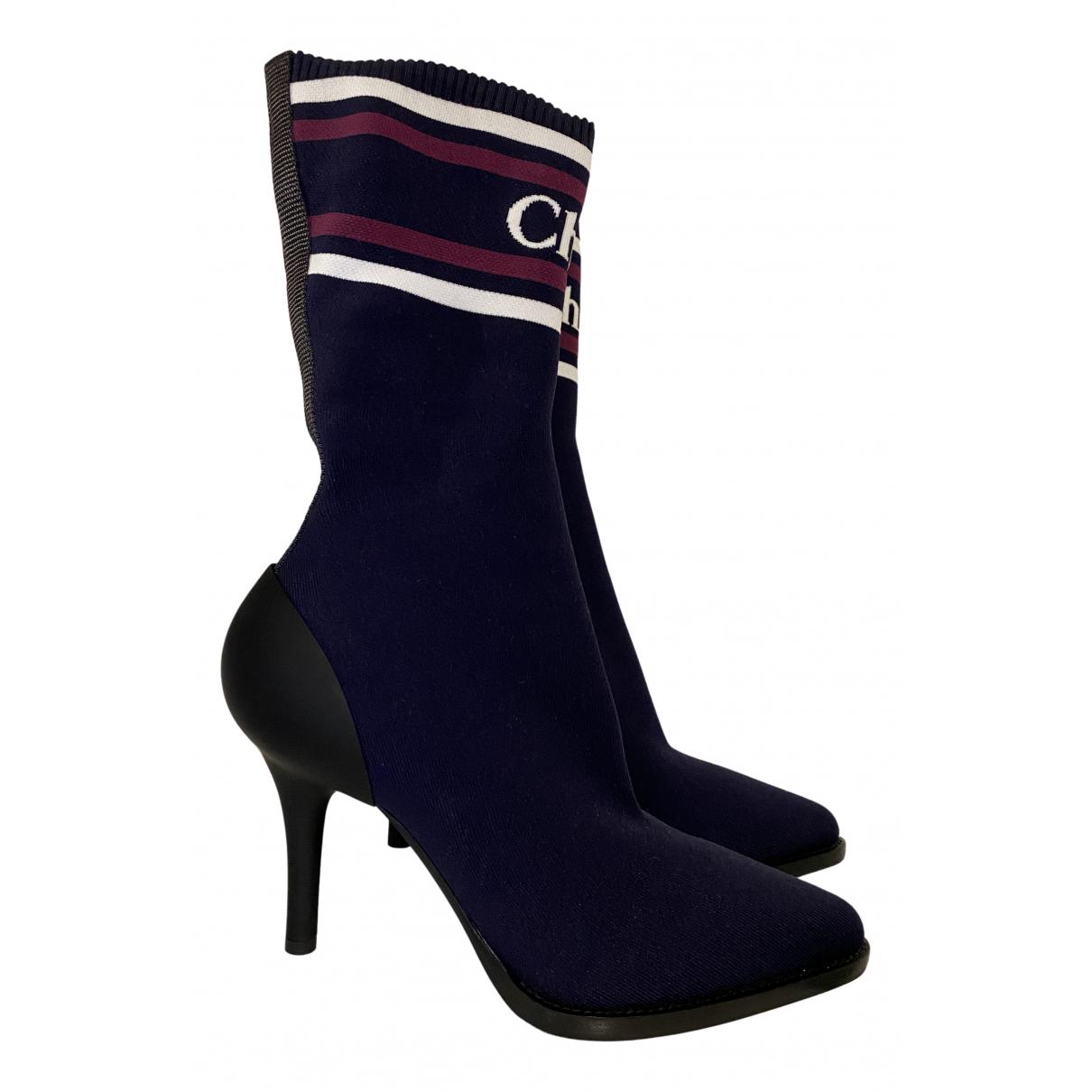 Chloe - Boots   pour femme en toile - bleu