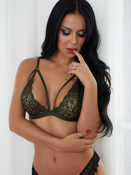Yoins Army Green Sexy Lace See-through Bralet Top