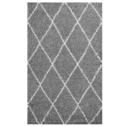 Toryn Collection R-1144B-810 Diamond Lattice 8x10 Shag Area Rug in Grey and Ivory