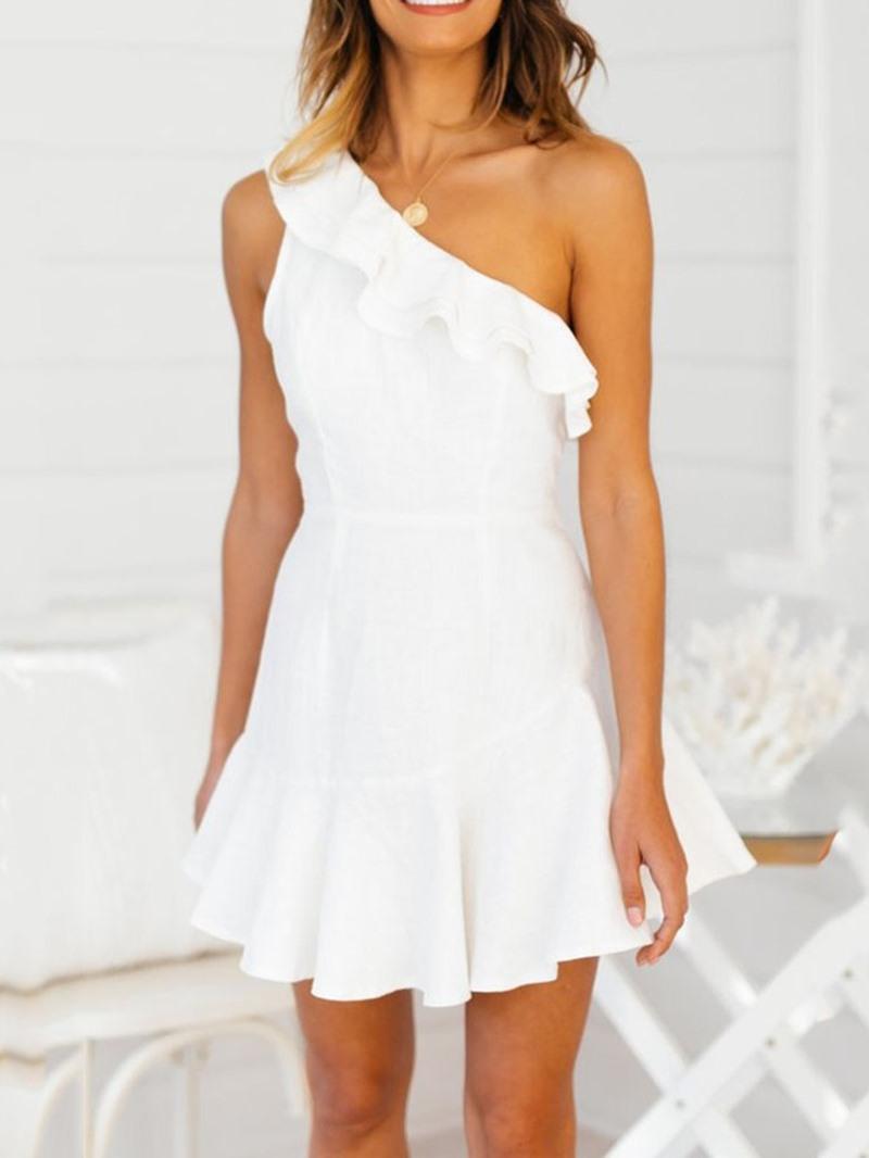 Ericdress One-Shoulder Sleeveless Ruffles Mid Waist Date Night Plain Dress