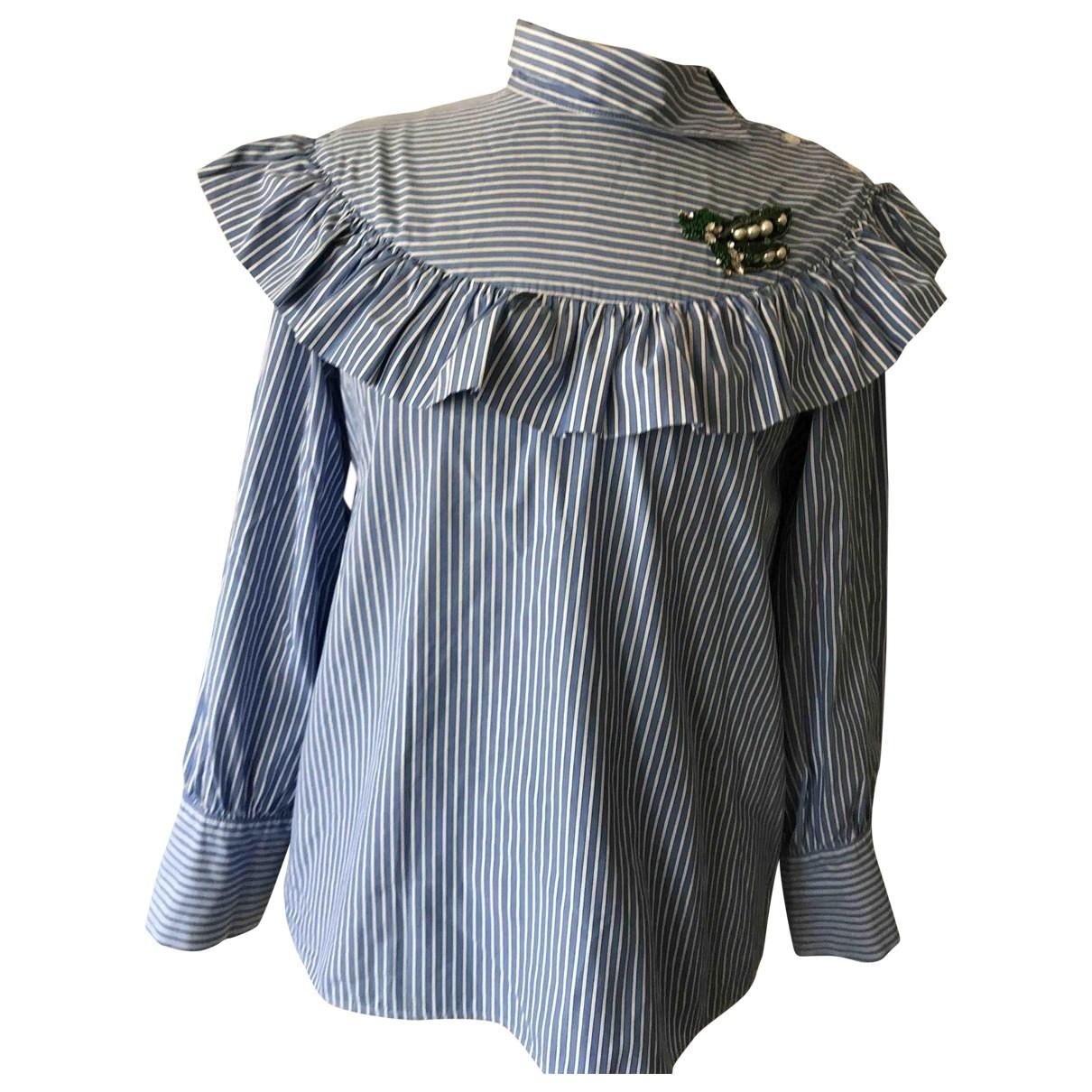 Vivetta - Top   pour femme en coton - blanc / bleu