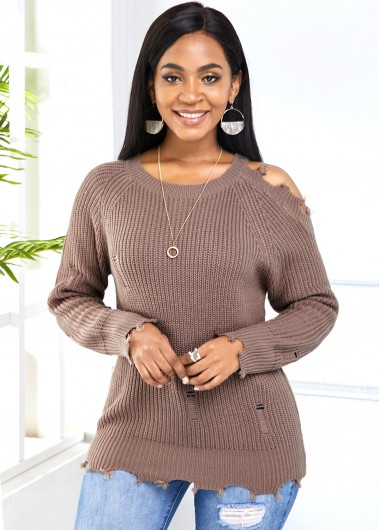 Trendy Round Neck Long Sleeve Cold Shoulder Sweater - L