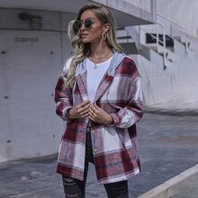 Button Front Drawstring Hooded Plaid Coat