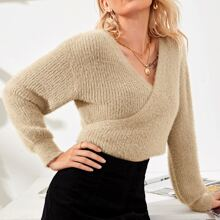Ribbed Knit Tie Back Wrap Crop Sweater