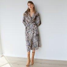 Shirt Kleid mit V-Kragen, Wickel Design und gemischtem Tier Muster