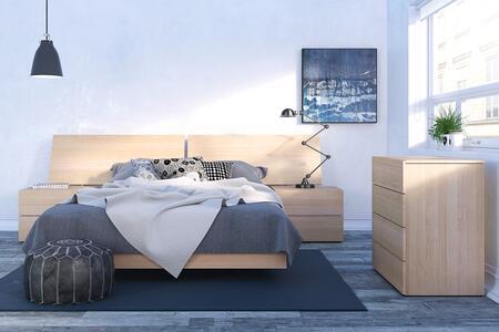 400801 Kabane 5 Piece Queen Size Bedroom Set with Platform Bed + Headboard + 2 Nightstand + Chest  in Natural Maple
