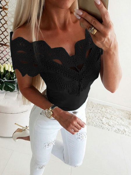 Yoins Black Lace Details Off The Shoulder Long Sleeves Top