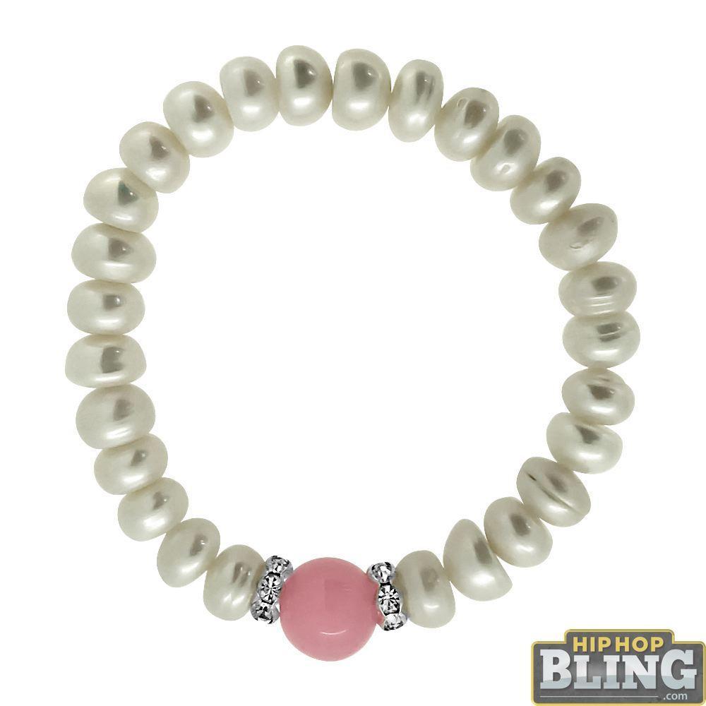 Genuine Pearl Bracelet with Pink Gemstone