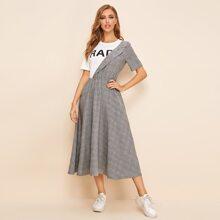 2 In 1 Kleid mit Buchstaben Grafik, ausgestelltem Saum und Karo Muster
