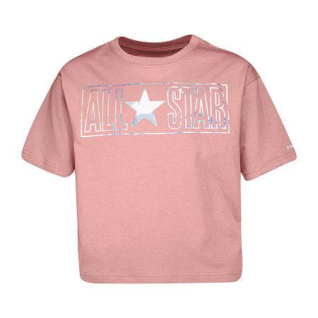 Converse Big Girls Crew Neck Short Sleeve Graphic T-Shirt, Small , Pink