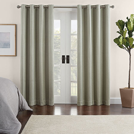 Eclipse Ambiance Chevron Draft Stopper Energy Saving 100% Blackout Grommet-Top Single Curtain Panel, One Size , Green