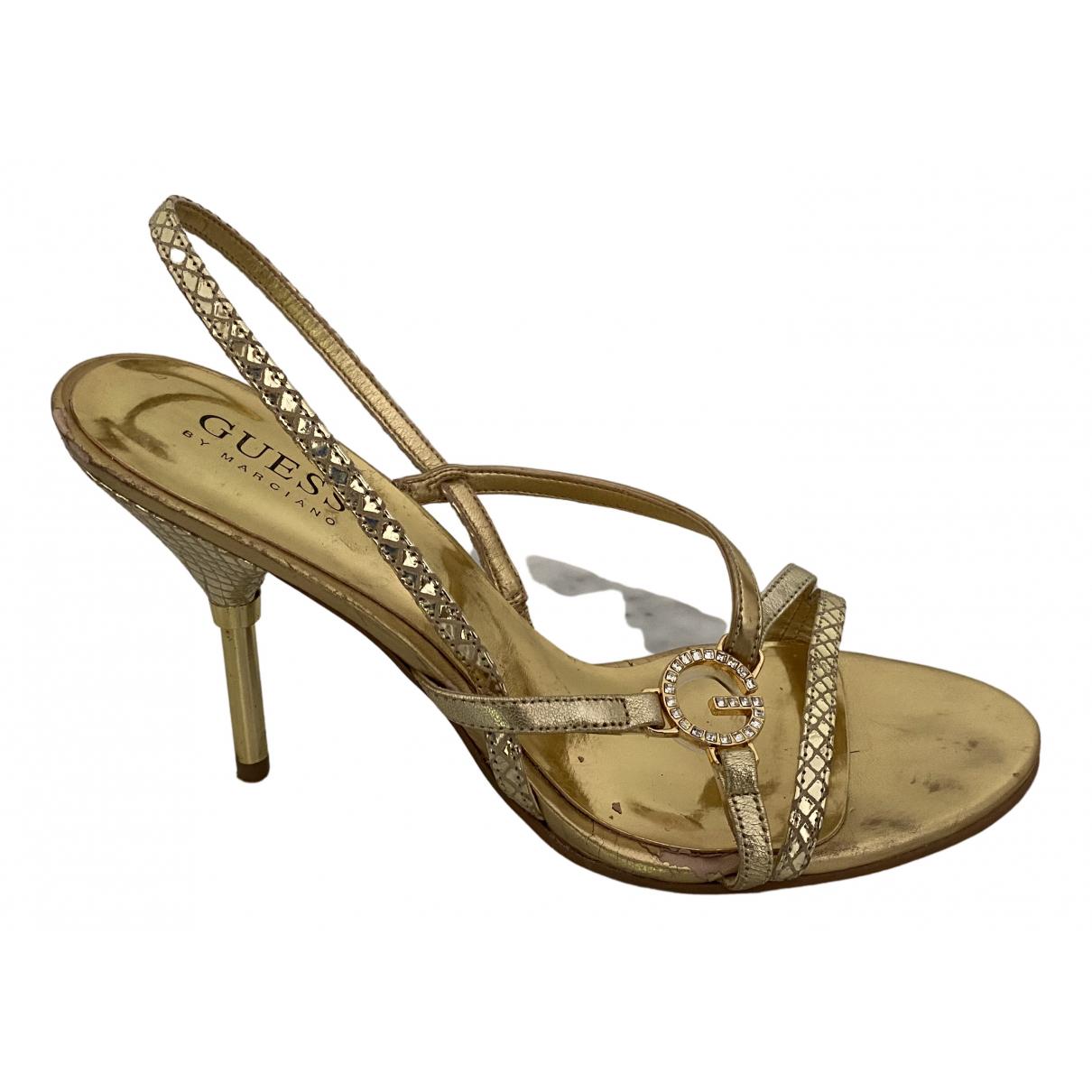 Guess \N Sandalen in  Gold Leder