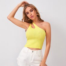 One Shoulder Slim Rib-knit Top