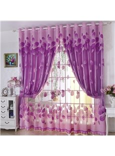 Bright Purple European Style Burnout and Embroidered Floral Blackout Curtains