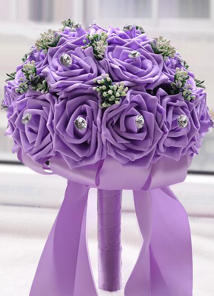 Milanoo White Wedding Bouquet Flowers Rhinestones Beaded Ribbons Round Shape Bridal Bouquet