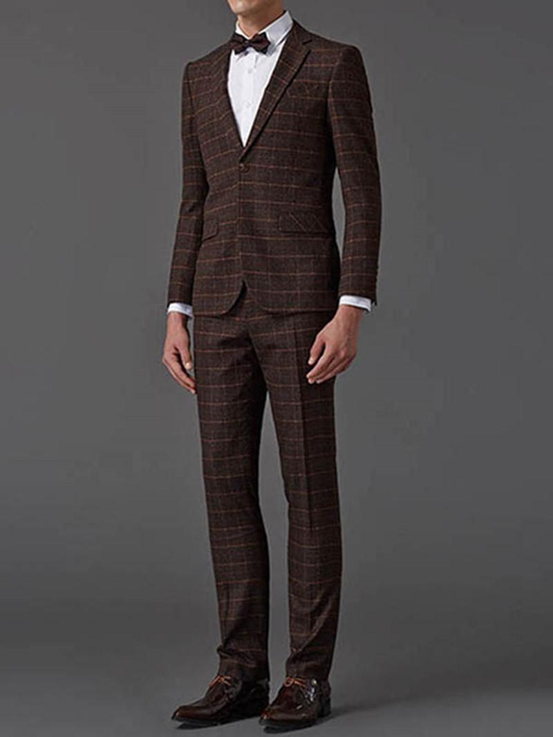 Ericdress British Style Elegant Plaid Three-Piece of Men's Suit
